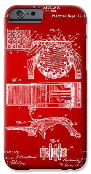 Vetran iPhone Cases - 1893 Gatling Machine Gun Feed Patent Artwork - Red iPhone Case by Nikki Marie Smith