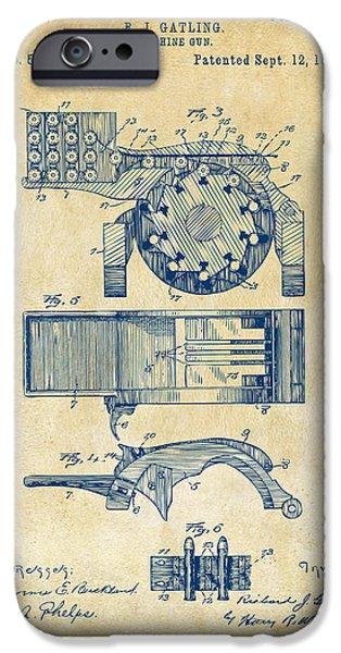 Vetran iPhone Cases - 1893 Gatling Machine Gun Feed Patent Artwork - Vintage iPhone Case by Nikki Marie Smith