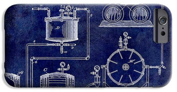 Manufacture iPhone Cases - 1893 Manufacture of Beer Patent Drawing Blue iPhone Case by Jon Neidert