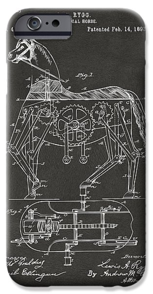 Horse Sport iPhone Cases - 1893 Mechanical Horse Toy Patent Artwork Gray iPhone Case by Nikki Marie Smith