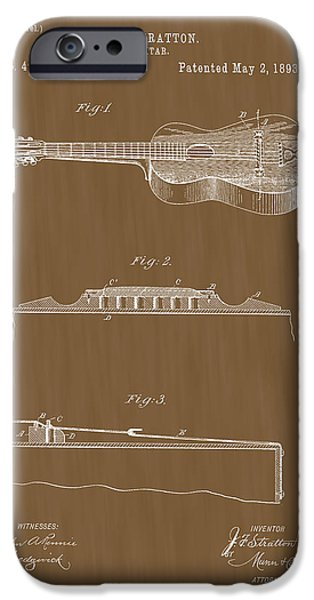 Acoustical Digital Art iPhone Cases - 1893 Stratton Guitar Patent Art iPhone Case by Barry Jones