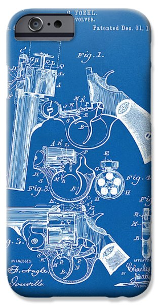 Weapon iPhone Cases - 1894 Foehl Revolver Patent Artwork - Blueprint iPhone Case by Nikki Marie Smith