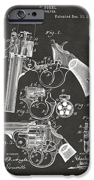 Weapon iPhone Cases - 1894 Foehl Revolver Patent Artwork - Gray iPhone Case by Nikki Marie Smith