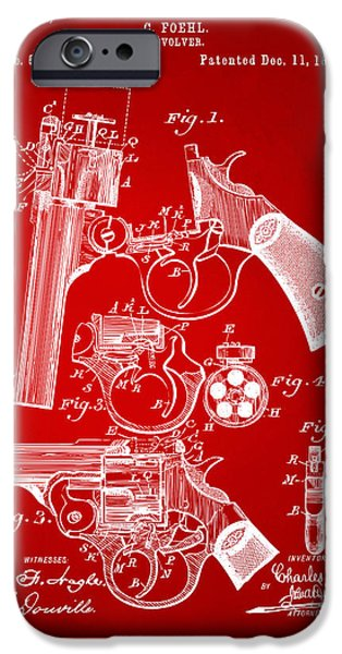 Weapon iPhone Cases - 1894 Foehl Revolver Patent Artwork - Red iPhone Case by Nikki Marie Smith