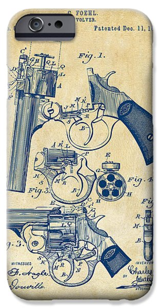 Weapon iPhone Cases - 1894 Foehl Revolver Patent Artwork - Vintage iPhone Case by Nikki Marie Smith