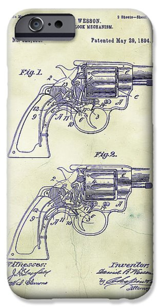 Mechanism iPhone Cases - 1894 Wesson Revolver Lock Mechanism Patent Art 3 iPhone Case by Nishanth Gopinathan