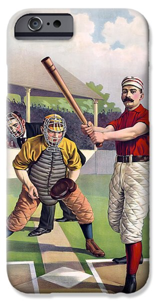 1895 BATTER UP AT HOME PLATE iPhone Case by Daniel Hagerman