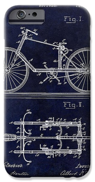 Vintage Bicycle iPhone Cases - 1895 Bicycle Patent Drawing Blue iPhone Case by Jon Neidert