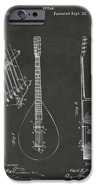 Guitarist Digital Art iPhone Cases - 1896 Brown Guitar Patent Artwork - Gray iPhone Case by Nikki Marie Smith