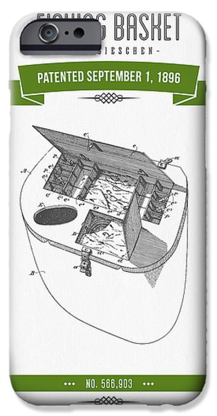 Basket Mixed Media iPhone Cases - 1896 Fishing Basket Patent Drawing - Green iPhone Case by Aged Pixel