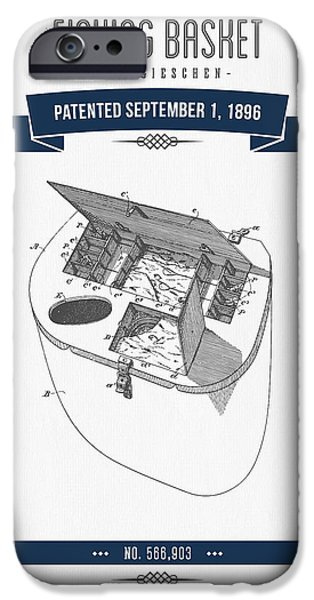 Basket Mixed Media iPhone Cases - 1896 Fishing Basket Patent Drawing - Navy Blue iPhone Case by Aged Pixel