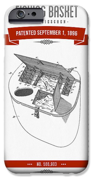 Basket Mixed Media iPhone Cases - 1896 Fishing Basket Patent Drawing - Red iPhone Case by Aged Pixel