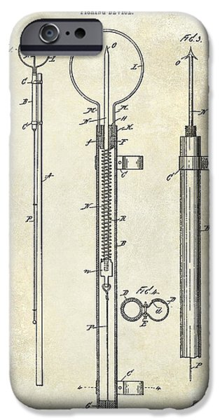 Cape Cod iPhone Cases - 1896 Fishing Device Patent Drawing iPhone Case by Jon Neidert