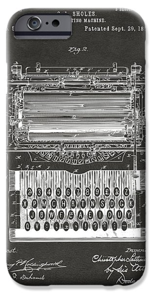 Keyboard iPhone Cases - 1896 Type Writing Machine Patent Artwork - Gray iPhone Case by Nikki Marie Smith