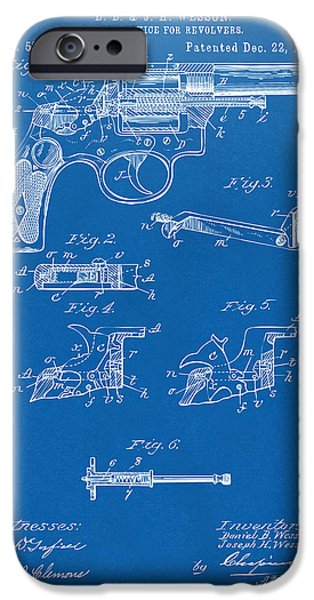 Weapon iPhone Cases - 1896 Wesson Safety Device Revolver Patent Artwork - Blueprint iPhone Case by Nikki Marie Smith