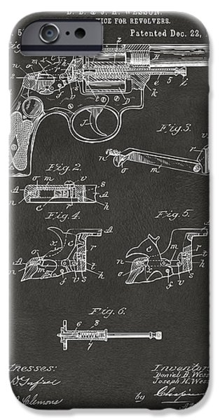 Weapon iPhone Cases - 1896 Wesson Safety Device Revolver Patent Artwork - Gray iPhone Case by Nikki Marie Smith