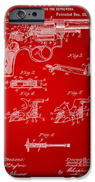 Weapon iPhone Cases - 1896 Wesson Safety Device Revolver Patent Artwork - Red iPhone Case by Nikki Marie Smith