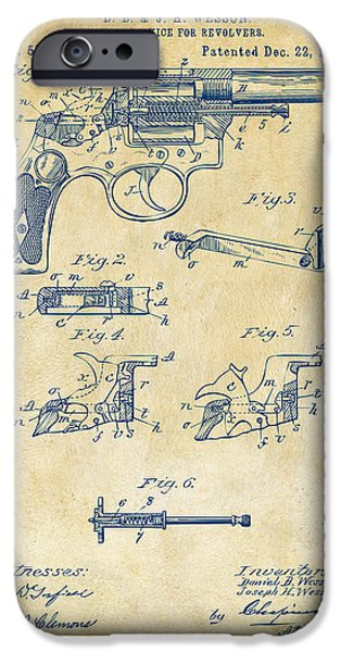 Bang iPhone Cases - 1896 Wesson Safety Device Revolver Patent Artwork - Vintage iPhone Case by Nikki Marie Smith