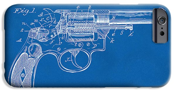 X-ray iPhone Cases - 1896 Wesson Safety Device Revolver Patent Minimal - Blueprint iPhone Case by Nikki Marie Smith