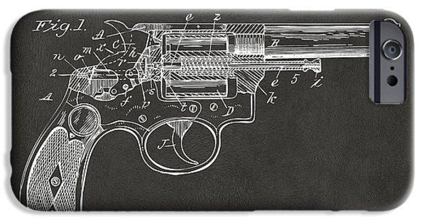 X-ray iPhone Cases - 1896 Wesson Safety Device Revolver Patent Minimal - Gray iPhone Case by Nikki Marie Smith