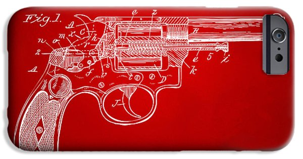 X-ray iPhone Cases - 1896 Wesson Safety Device Revolver Patent Minimal - Red iPhone Case by Nikki Marie Smith