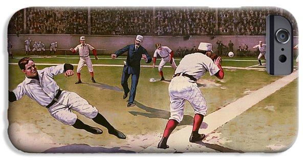 Baseball Stadiums Digital Art iPhone Cases - 1898 Baseball -  American Pastime  iPhone Case by Daniel Hagerman