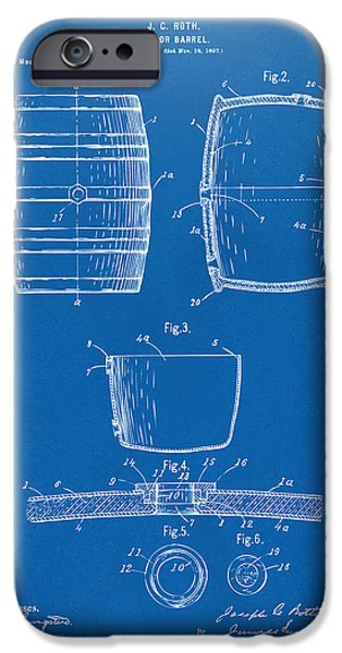 Food And Beverage Digital iPhone Cases - 1898 Beer Keg Patent Artwork - Blueprint iPhone Case by Nikki Marie Smith