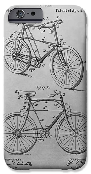 Bicycle Drawings iPhone Cases - 1898 Bicycle Patent Drawing iPhone Case by Dan Sproul