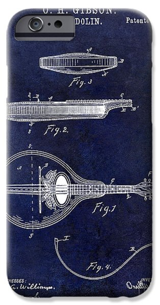 `les iPhone Cases - 1898 Gibson Mandolin Patent Drawing Blue iPhone Case by Jon Neidert