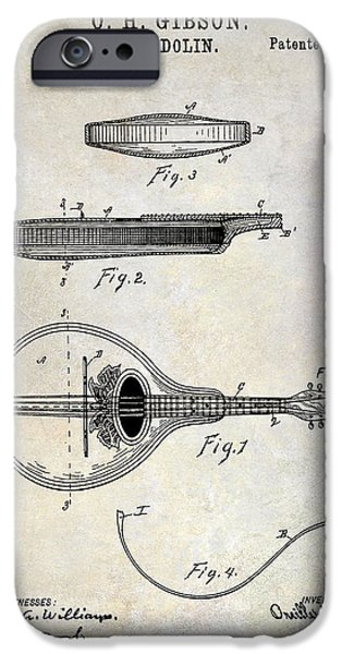 `les iPhone Cases - 1898 Gibson Mandolin Patent Drawing iPhone Case by Jon Neidert
