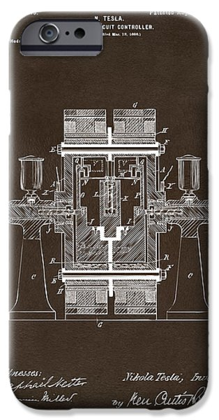 Circuit iPhone Cases - 1898 Tesla Electric Circuit Patent Artwork Espresso iPhone Case by Nikki Marie Smith