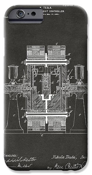 Circuit iPhone Cases - 1898 Tesla Electric Circuit Patent Artwork - Gray iPhone Case by Nikki Marie Smith