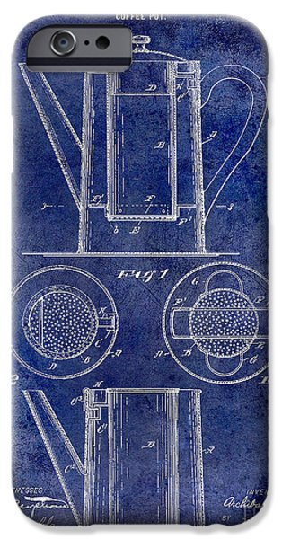 1900 iPhone Cases - 1899 Coffee Pot Patent Drawing Blue iPhone Case by Jon Neidert