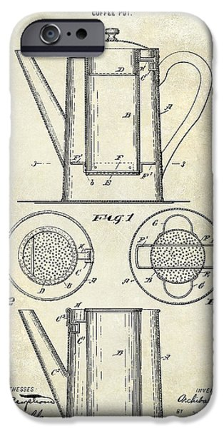 1900 iPhone Cases - 1899 Coffee Pot Patent Drawing iPhone Case by Jon Neidert
