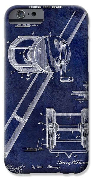 Cape Cod iPhone Cases - 1899 Fishing Reel Brake Patent Drawing Blue iPhone Case by Jon Neidert