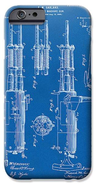 Weapon iPhone Cases - 1899 Garland Automatic Machine Gun Patent Artwork - Blueprint iPhone Case by Nikki Marie Smith