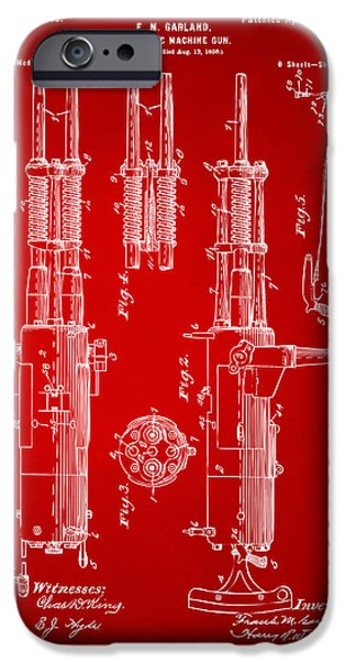 Weapon iPhone Cases - 1899 Garland Automatic Machine Gun Patent Artwork - Red iPhone Case by Nikki Marie Smith