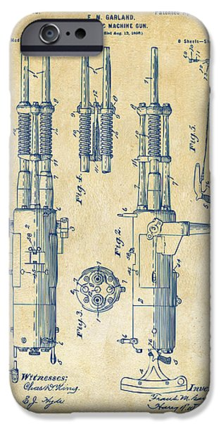 Weapon iPhone Cases - 1899 Garland Automatic Machine Gun Patent Artwork - Vintage iPhone Case by Nikki Marie Smith