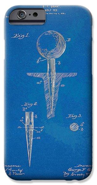 Concept Digital Art iPhone Cases - 1899 Golf Tee Patent Artwork - Blueprint iPhone Case by Nikki Marie Smith