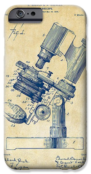 Chemistry iPhone Cases - 1899 Microscope Patent Vintage iPhone Case by Nikki Marie Smith