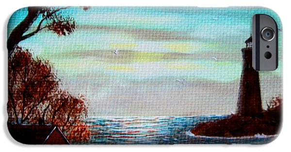Sunset Tapestries - Textiles iPhone Cases - Sunset Lighthouse Duvet iPhone Case by Barbara Griffin