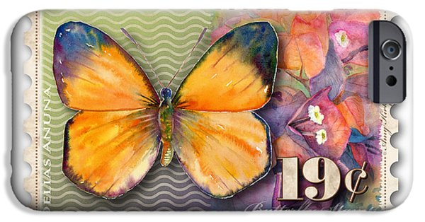 Nineteen iPhone Cases - 19 Cent Butterfly Stamp iPhone Case by Amy Kirkpatrick