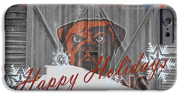 Christmas Greeting iPhone Cases - Cleveland Browns iPhone Case by Joe Hamilton