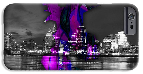 California iPhone Cases - Sacramento Map and Skyline Watercolor iPhone Case by Marvin Blaine