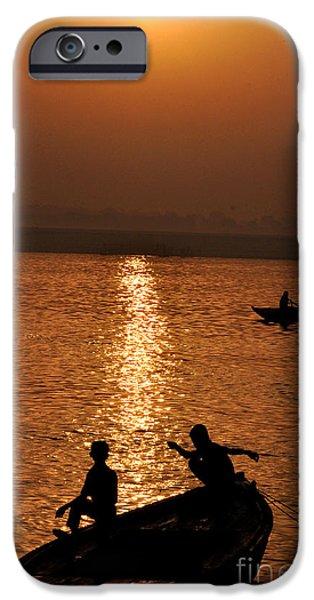 Hindu Goddess iPhone Cases - Sunrise On Ganges. iPhone Case by Anil Sharma
