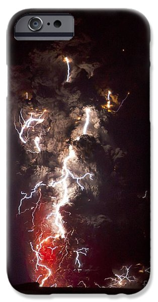 Recently Sold -  - Electrical iPhone Cases - Volcanic Lightning, Iceland, April 2010 iPhone Case by Olivier Vandeginste