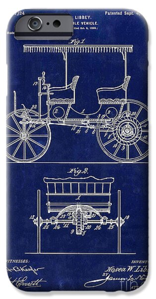 1900 iPhone Cases - 1900 Automobile Patent Drawing Blue iPhone Case by Jon Neidert