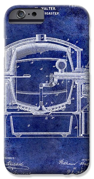 1900 iPhone Cases - 1900 Coffee Roaster Patent Drawing Blue iPhone Case by Jon Neidert