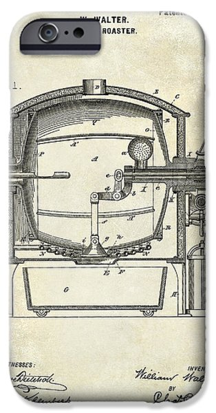 1900 iPhone Cases - 1900 Coffee Roaster Patent Drawing  iPhone Case by Jon Neidert