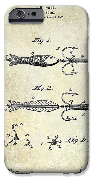 Shark iPhone Cases - 1900 Fishing Hook Patent Drawing iPhone Case by Jon Neidert